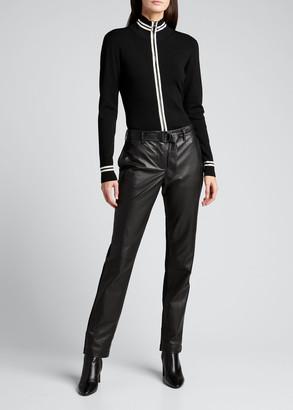 Akris Punto Contrast-Trim Merino Wool Zip Cardigan
