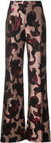 Christian Siriano flared patterned trousers