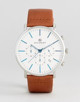 Accurist Chronograph Leather Watch In Tan