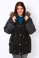 Yours Clothing Black Parka With Bomber Style Sleeves & Faux Fur Hood