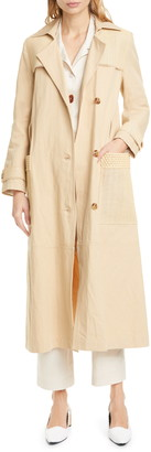 Nanushka Alex Vegan Leather Trim Cotton & Linen Trench Coat