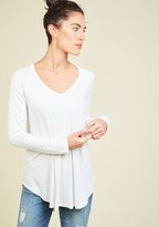 ModCloth Embracing Basic Long Sleeve Top in Cloud in 3X