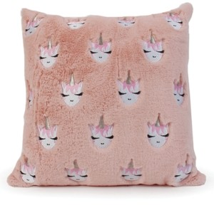 OMG Accessories Whimsical Unicorn Embroidered Fluffy Pillow