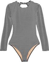 Fleur Du Mal Striped open-back swimsuit
