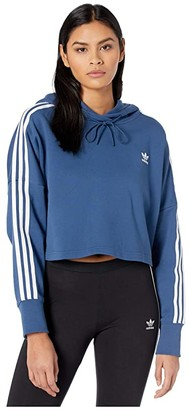 adidas Cropped Hoodie (Night Marine/White) Women's Sweatshirt