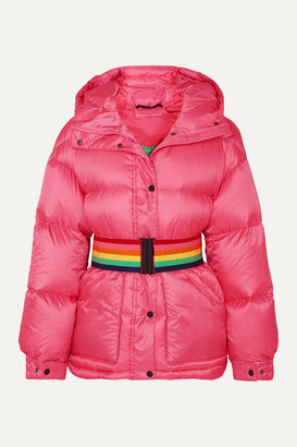 Perfect Moment Belted Hooded Quilted Down Ski Jacket - Pink