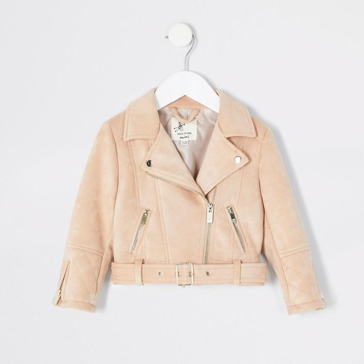 River Island Mini girls Cream suedette belted biker jacket