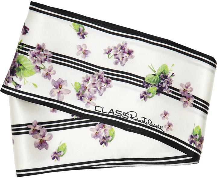 Class Roberto Cavalli Printed silk-satin scarf
