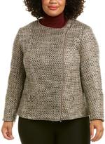 Lafayette 148 New York Plus Trista Leather-Trim Wool-Blend Jacket
