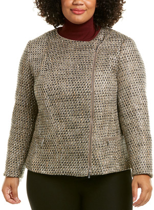 Lafayette 148 New York Plus Trista Leather-Trim Wool-Blend Jacket