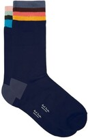 Paul Smith Artist-stripe Cotton-blend Ankle Socks - Mens - Navy