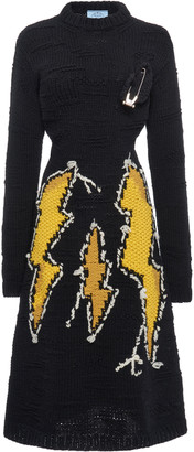 Prada Embellished Intarsia-Knit Wool Midi Dress