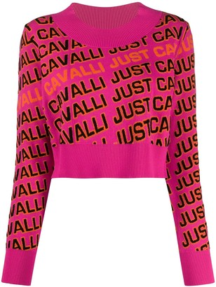 Just Cavalli Logo Knit Cropped Jumper