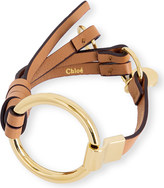 Chloé Leather and brass circle bracelet
