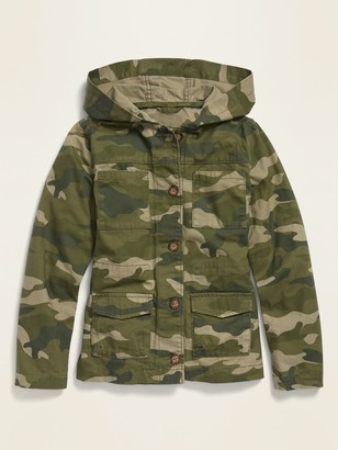 Old Navy Camo-Print Hooded Utility Jacket for Girls