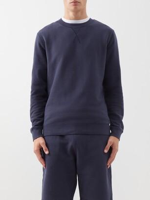 Sunspel Crew-neck Cotton Sweatshirt - Navy