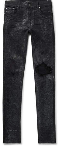 Amiri Skinny-Fit Distressed Glittered Stretch-Denim Jeans