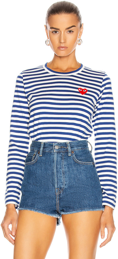 Comme des Garcons Striped Cotton Red Heart Tee in Royal Blue | FWRD