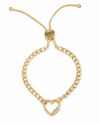 GUESS Slider Close Link Bracelet with Pave Heart Charm