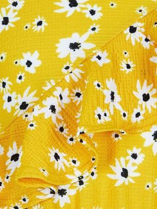 River Island Mini Girls Floral Asymmetric Frill Playsuit - Yellow