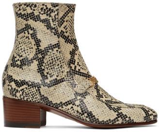 Gucci Black and Beige Python Interlocking G Chain Ankle Boots