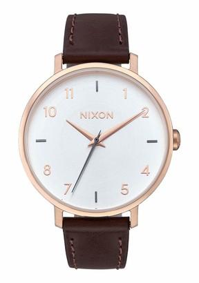 Nixon Women's 'Arrow' Quartz Metal and Leather Watch Color:Brown (Model: A10912369-00)