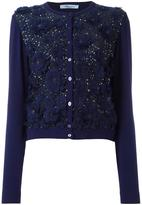 Blumarine sequined floral applique cardigan