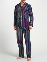 Derek Rose Multi Stripe Woven Cotton Pyjamas, Navy/multi