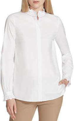 Lafayette 148 New York Kelly Italian Stretch-Cotton Blouse w/ Ruffled-Trim