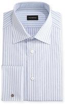 Ermenegildo Zegna Dotted-Stripe Dress Shirt, White/Blue