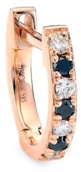 Ef Collection 14K Rose Gold, White & Black Diamond Single Huggie Earring