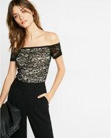 Express Floral Lace Off The Shoulder Bikini Bodysuit