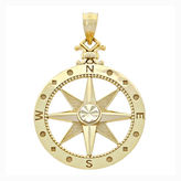 FINE JEWELRY 14K Yellow Gold Polished Diamond-Cut Compass Charm Pendant