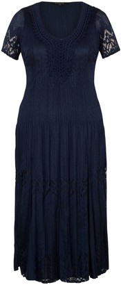 Chesca Border Lace Crush Pleat Dress, Navy