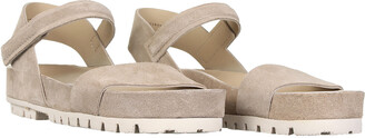 Pedro Garcia Sandal In Taupe Suede Leather