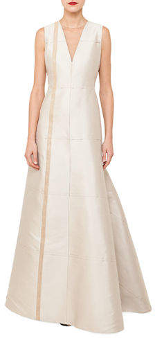 Akris Sleeveless V-Neck Illusion Silk Shantung A-Line Evening Gown