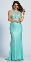 Dave and Johnny Keyhole Embroidered Applique Illusion Prom Dress