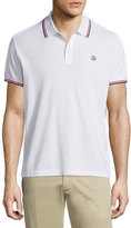 Moncler Tipped Short-Sleeve Pique Polo Shirt, White