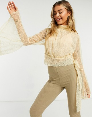 Free People Rule Breaker high neck lace top in cream