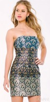 Jovani Strapless Multi Colored Scroll Print Party Dress