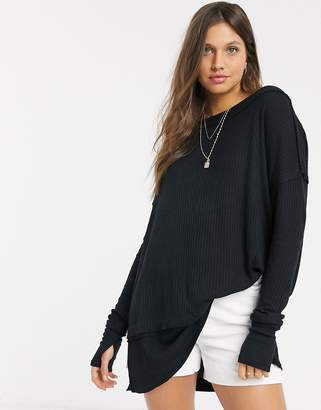 Free People North Shore raw seamed long sleeved t-shirt-Black