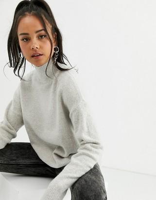 Bershka roll neck sweater in stone
