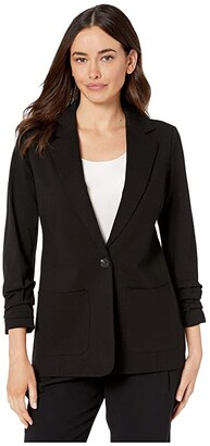 Vince Camuto Ruched Sleeve Ponte Two-Pocket Blazer (Rich Black) Women's Jacket