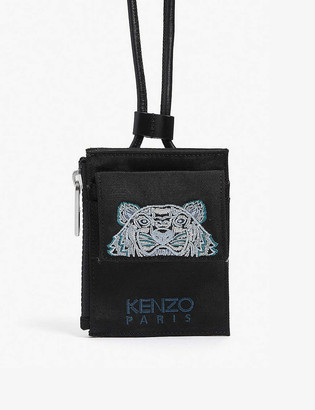 Kenzo Tiger-embroidered nylon wallet-on-strap