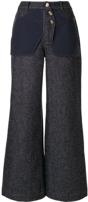 REJINA PYO Flared Inside-Out Effect Trousers