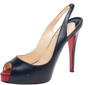 Christian Louboutin Navy Blue Leather Private Number Peep Toe Slingback Sandals Size 37.5