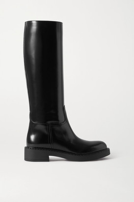 Prada 50 Glossed-leather Knee Boots - Black