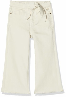 Scotch & Soda Girl's High Waist Wide Leg Cotton Twill Pants with Shell Fabric Tie Trouser