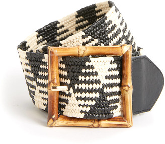 Fantas-Eyes Bamboo Buckle Stretch Belt Black Multi S