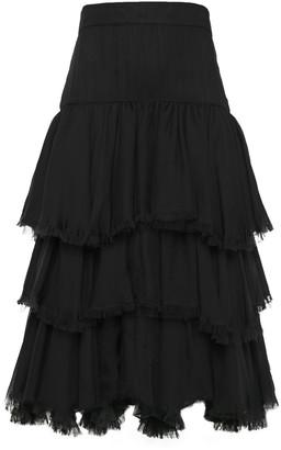 Johanna Ortiz Tiered Frayed Silk-gauze Midi Skirt